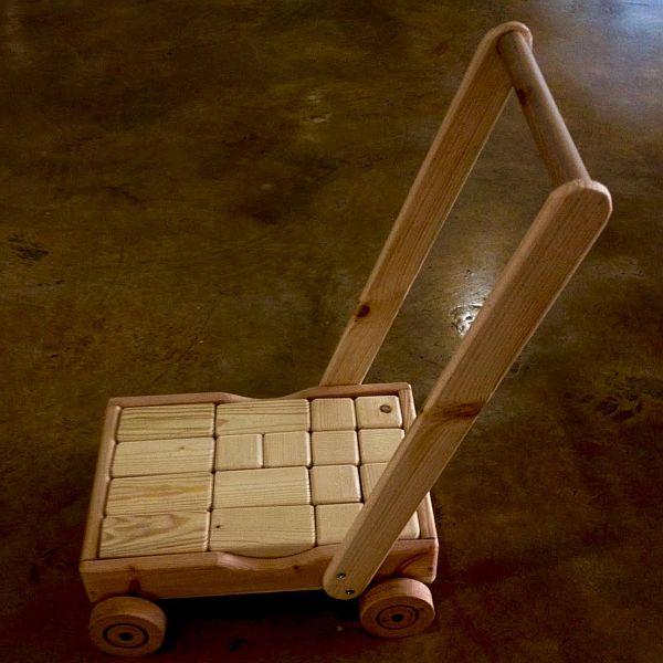 צעצועי עץ-עגלת דחיפה עם קוביות-WOODEN TOYS