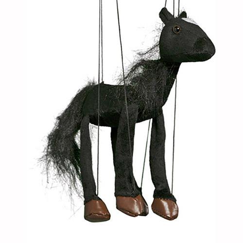 מריונטה בובת סוס שחור WB352B