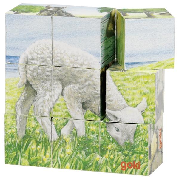 צעצועי עץ GOKI פאזל קוביה בעלי חיים 57607