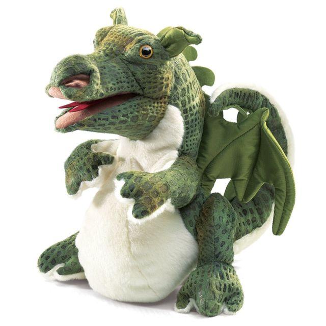 FOLKMANIS בובת דרקון ירוק קטן 2886