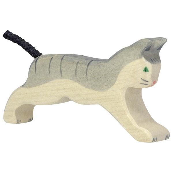HOLZTIGER חתול אפור לבן 80054