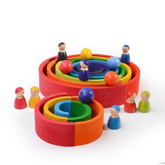 קשת מעץ צעצועי וולדורוף  מונטסורי 12 חלקים 66001