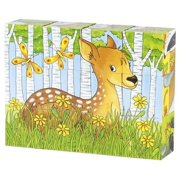 צעצועי עץ GOKI פאזל קוביות 12 חלקים 57710