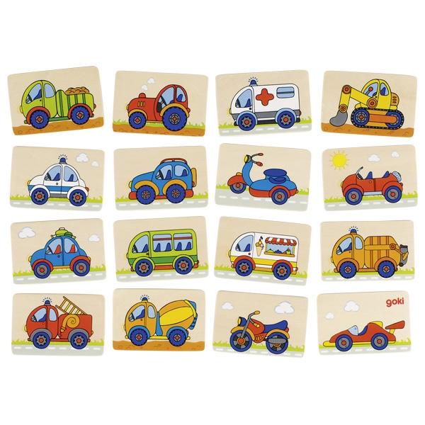 צעצועי עץ GOKI משחק זיכרון כלי תחבורה 56689