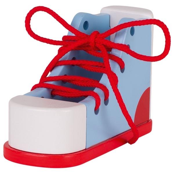 צעצועי עץ GOKI , מונטסורי, שריכת נעל  58784