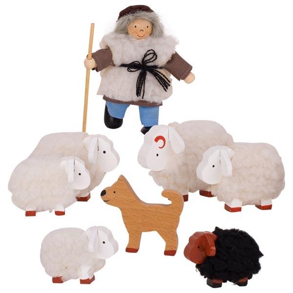 צעצועי עץ GOKI האנשים הקטנים רועה וכבשים SO201