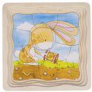 צעצועי עץ GOKI פאזל שכבות ארנב וגזר 57495