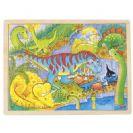 צעצועי עץ פאזל דינוזאורים GOKI 57724