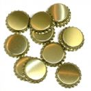 "100 פקקי כתר בצבע זהב 26 מ""מ Golden Colored 26 mm Crown Caps 100 pcs"