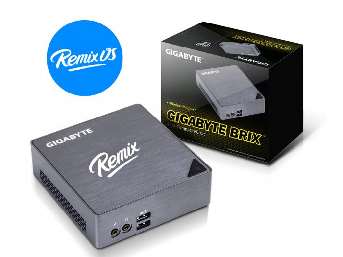 מחשב REMIX PC עם מערכת הפעלה REMIX OS מעבד 8GB INTEL I5-6200u זיכרון של חברת GIGABYTE