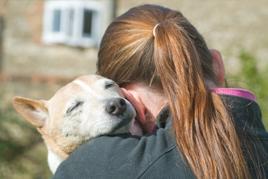 טיפול באוכלוסיות בסיכון נערה מחבקת כלב