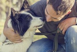 מטפל בעזרת בעלי חיים מלטף כלב