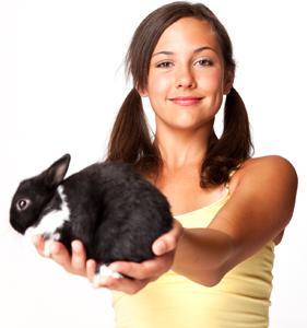 נערה מחזיקה ארנב לימודים טיפול בעזרת בעלי חיים