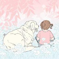 ציור כלב וילדה טיפול בעזרת בעלי חיים