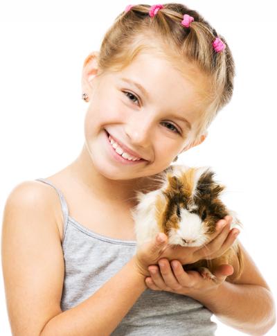 ילדה מחזיקה שרקן מטפלים בעזרת בעלי חיים
