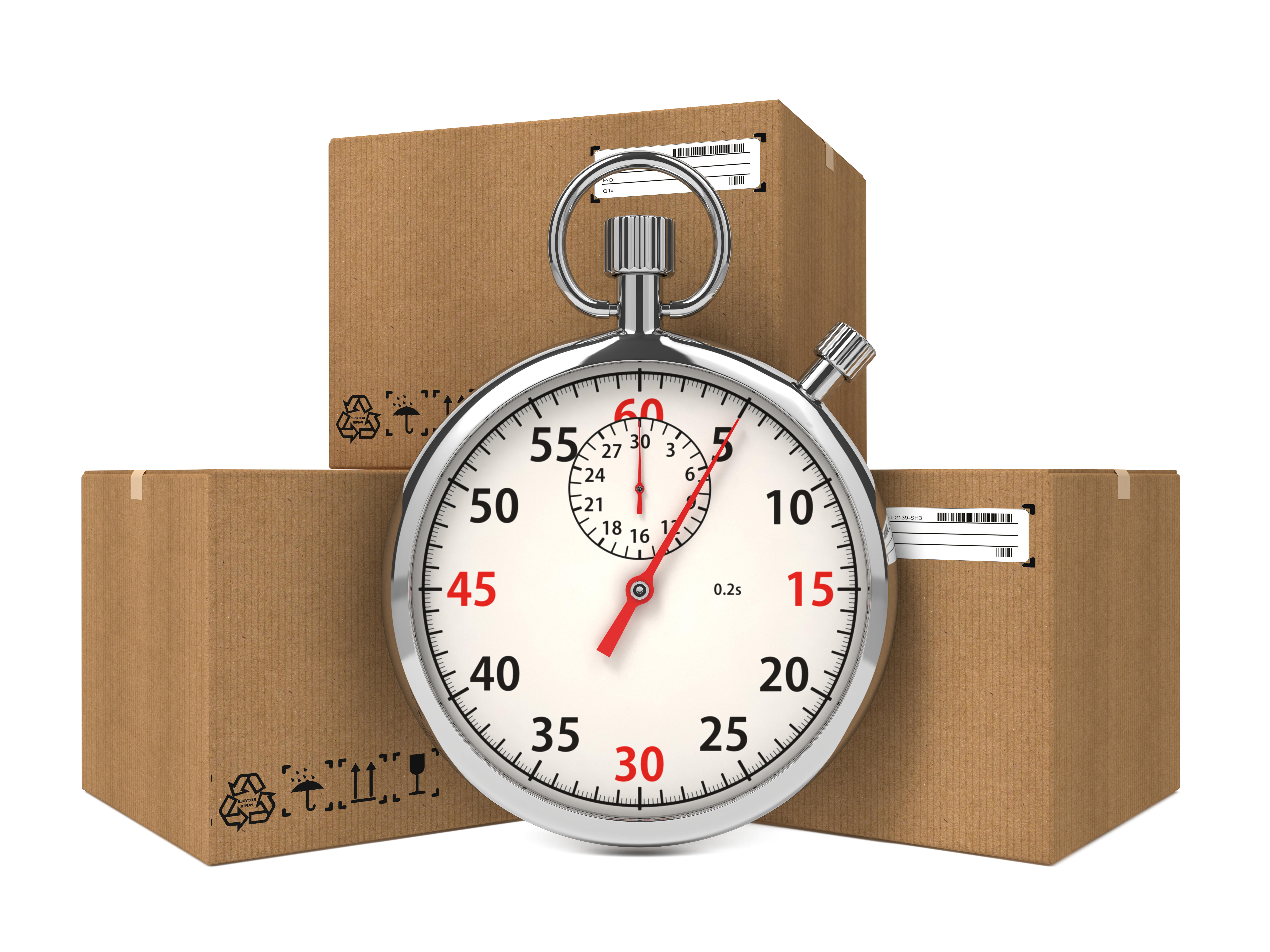 חבילות למסירה לצד שעון