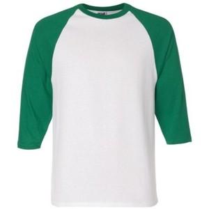 חולצה אמריקאית לבנה עם שרוולים ירוקים