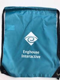 תיק שרוך ממותג מניילון כחול- Enghouse