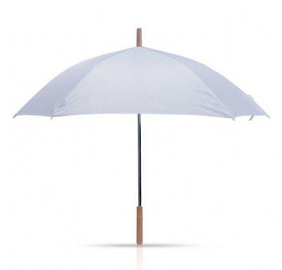 מטריה לבנה עם מוט ארוך