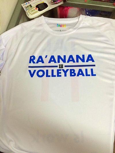 עיצוב הדפסה כחול על חולצה לבנה