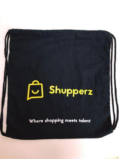 תיק שרוך מניילון שחור- shupperz