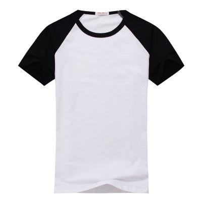 הדפס חולצה אמריקאית קצרה שחור לבן