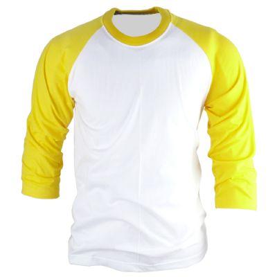 חולצה אמריקאית צהוב לבן להדפסה