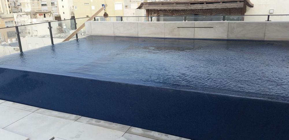 בריכת שחיה על גג בניין