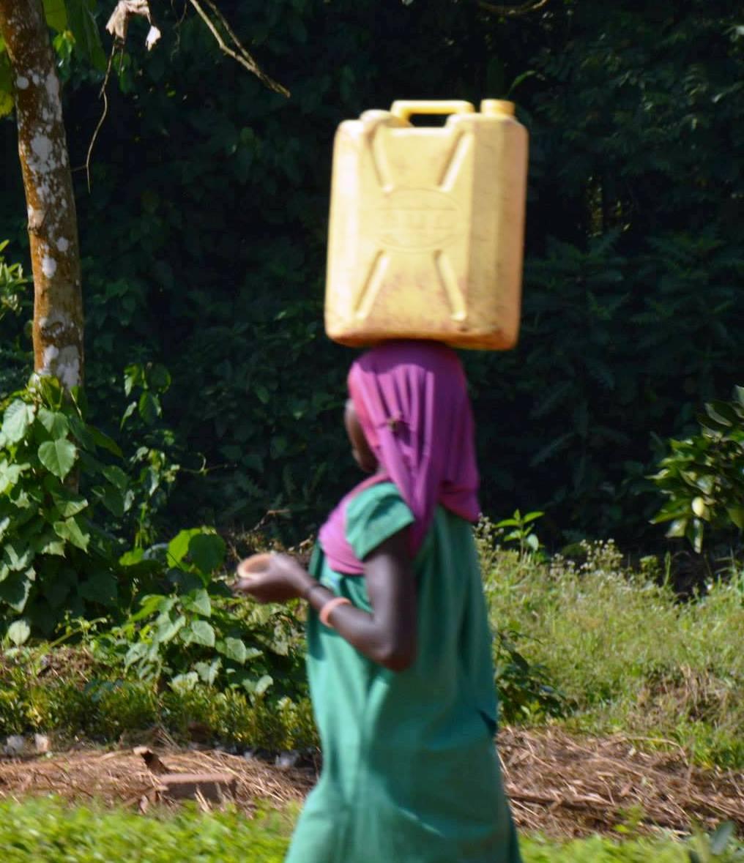 אישה עם מיכל מים 20 ליטר על הראש