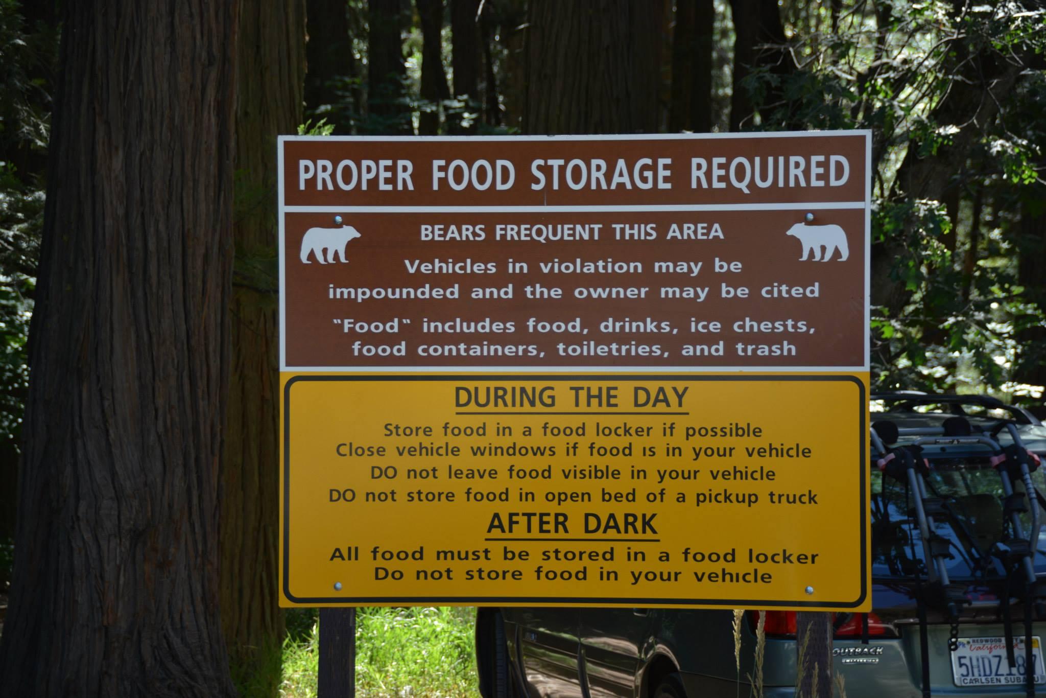 שלטי התנהלות עם מזון בארץ הדובים