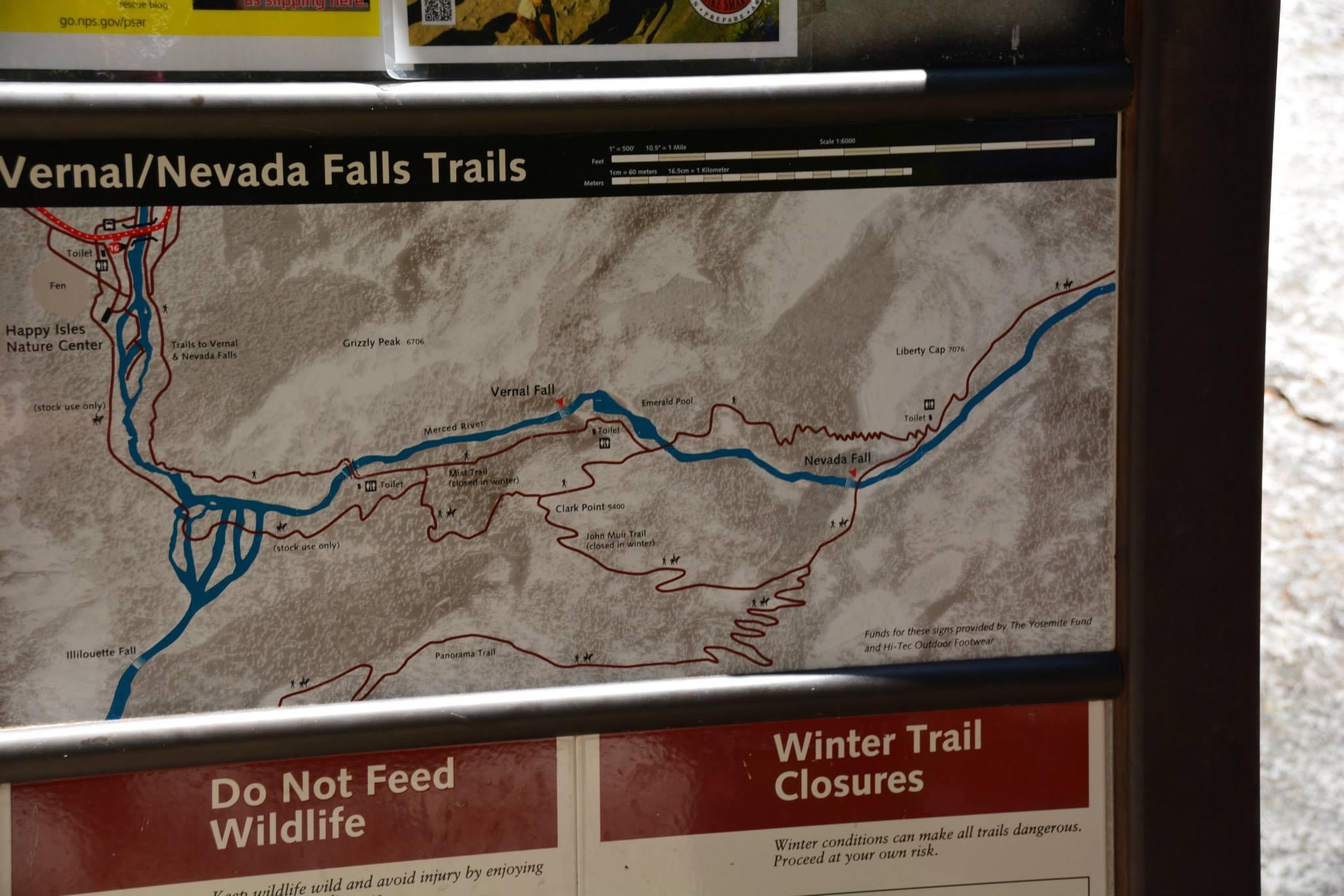 מפת המסלול למפל ורנל/נבאדה