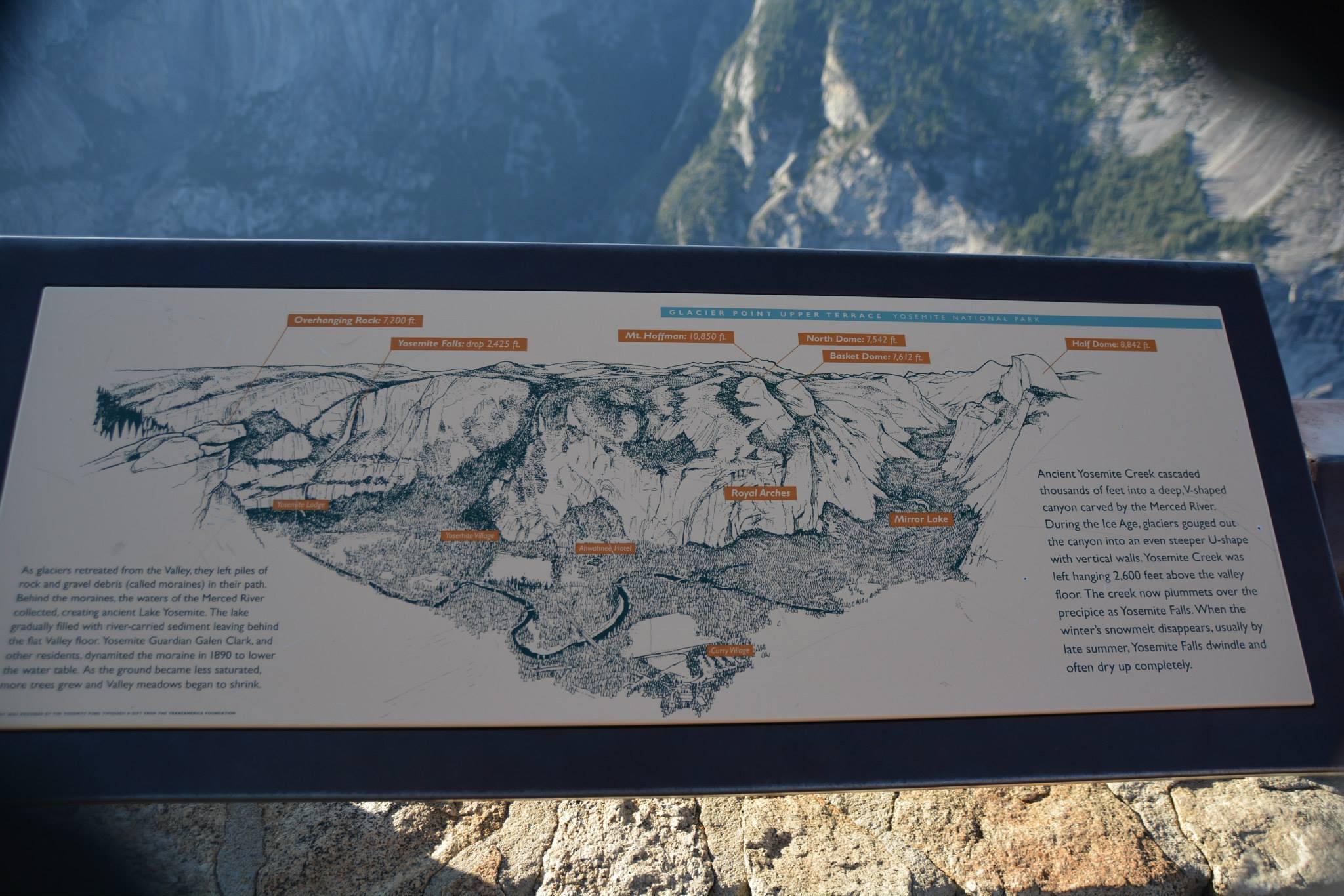 מה רואים מהתצפית-מפת האזור של Glacier Point