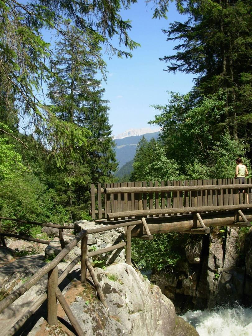 גשר עץ מעל מים גועשים