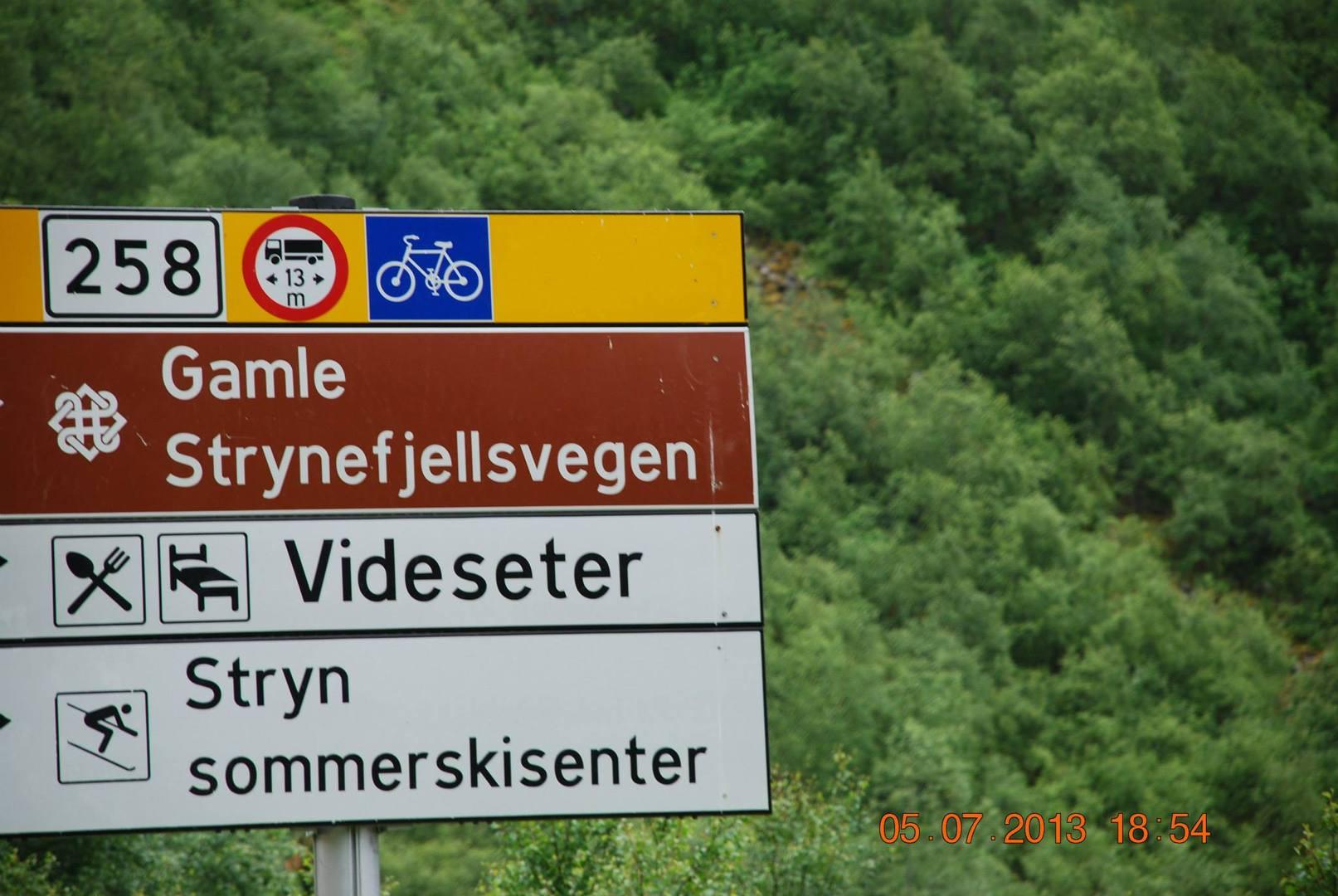 שלט הכניסה אל כביש 258 - Gamle Strynef