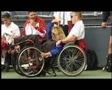 משתוללים על כסאות גלגלים לקראת טקס פתיחת תחרויות אליפות העולם בטניס בכיסאות גלגליםBefore the opening ceremony in New York US OPEN 1999 city