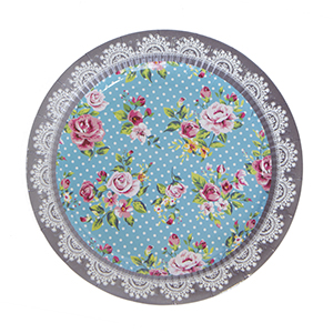 צלחות גדולות פרחים רומנטים 20 יח'
