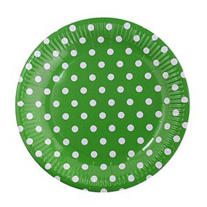 צלחות גדולות נקודות ירוק 20 יח'