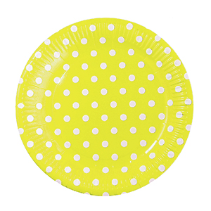 צלחות גדולות נקודות צהוב 20 יח'