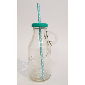 בקבוק זכוכית עם מכסה תכלת