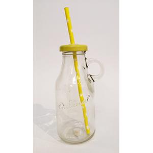 בקבוק זכוכית עם מכסה צהוב
