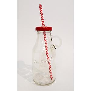 בקבוק זכוכית עם מכסה אדום