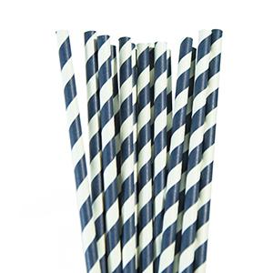 קשיות נייר פסים כחול 20 יח'
