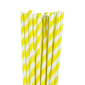 קשיות נייר פסים צהוב 20 יח'