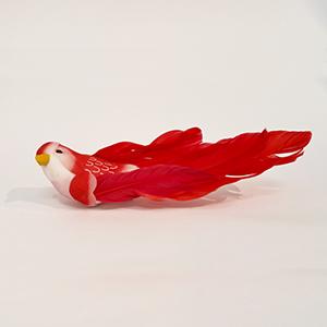 ציפור דקורטיבית אדום/ורוד