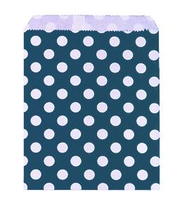 שקיות נייר נקודות כחול 25 יח'