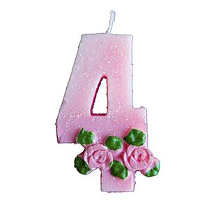נר ורוד עם פרחים 4