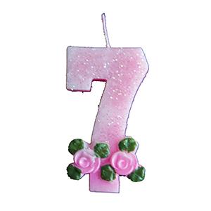 נר ורוד עם פרחים 7