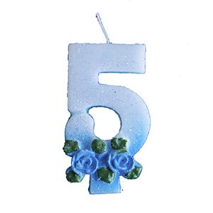נר תכלת עם פרחים 5