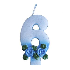 נר תכלת עם פרחים 6