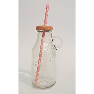 בקבוק זכוכית עם מכסה ורוד בהיר